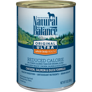 Natural Balance Original Ultra Whole Body Health Reduced Calorie Chicken, Salmon and Duck Canned Dog Food