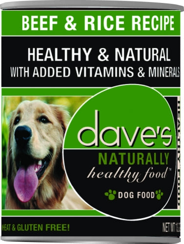 Dave's Naturally Healthy Beef And Rice Canned Dog Food