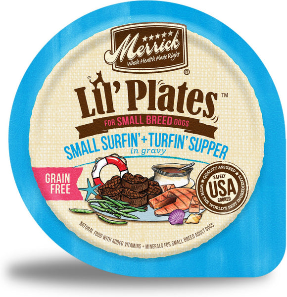 Merrick Lil' Plates Grain Free Surfin & Turfin Supper in Gravy Dog Food Tray