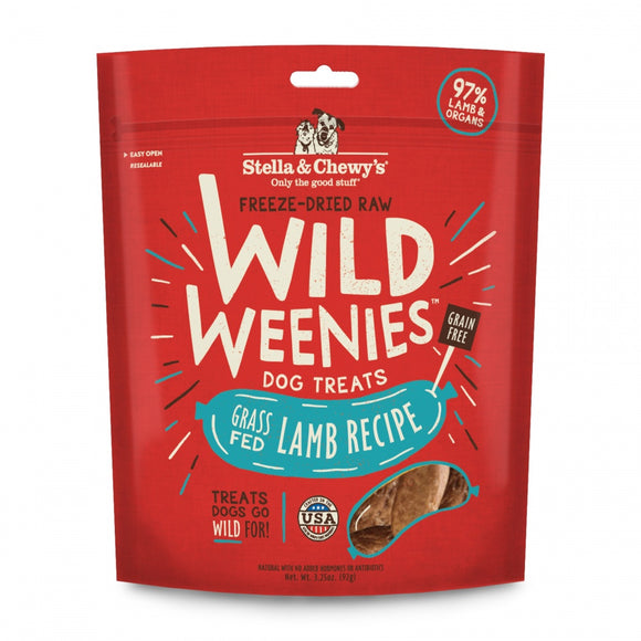 Stella & Chewy's Wild Weenies Grain Free Lamb Recipe Freeze Dried Raw Dog Treats