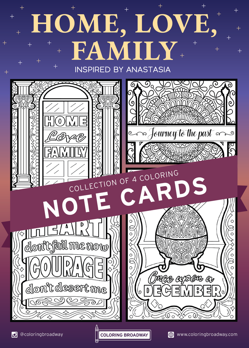 "Anastasia ""Home, Love, Family"" Collection - Coloring Note Cards"