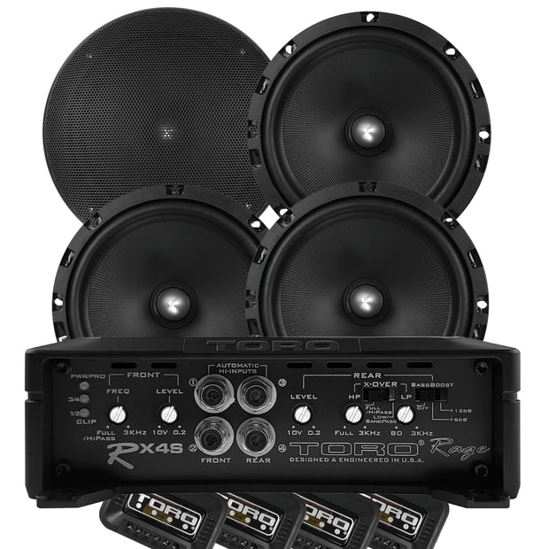 "Two Pair of F6K - 6.5"" Component Speakers + RX4S Amplifier 
