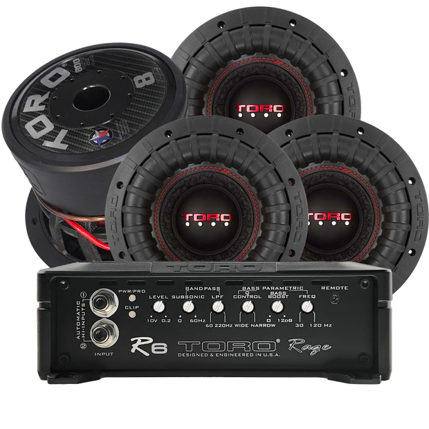 Four FORCE 8 SUBS + R6 AMPLIFIER @ 0.5Ω | 3200 Watts RMS
