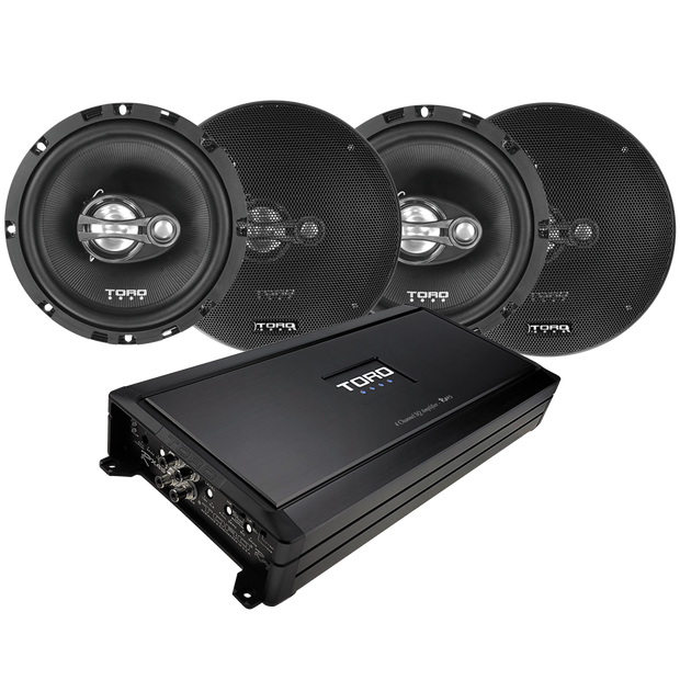 "Four F6 - 6.5"" Coaxial Speakers + RX4S Amplifier"
