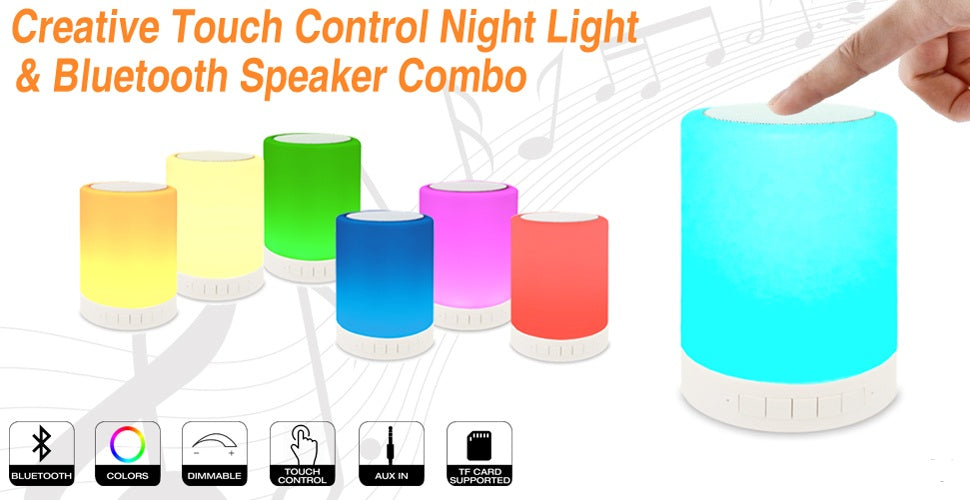 Night Light Bluetooth Speakers, Touch Control Bedside Lamp