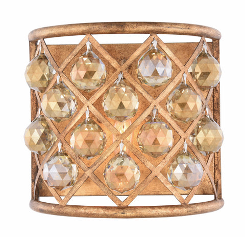 "Madison Collection Wall Sconce W:11.5"" H:10.5"" E:6.5"" Lt:1 Golden Iron Finish Royal Cut Golden Teak (Smoky) - llightsdaddy - Urban Classic - Wall Sconces and Lamps"