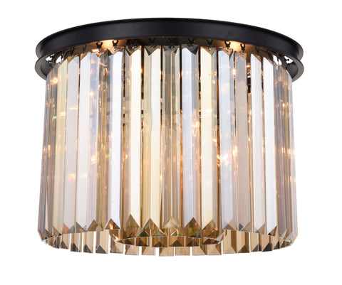 Sydney 6 light Matte Black Flush Mount Golden Teak (Smoky) Royal Cut Crystal - llightsdaddy - Urban Classic - Chandeliers