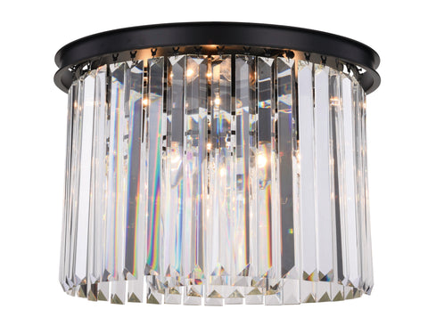 Sydney 6 light Matte Black Flush Mount Clear Royal Cut Crystal - llightsdaddy - Urban Classic - Chandeliers