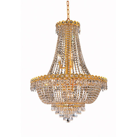 1900 Century Collection Chandelier D:24in H:30in Lt:12 Gold Finish (Royal Cut Crystals) - llightsdaddy - Elegant Lighting - Lights