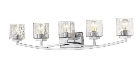 5 Light Vanity, Chisel, Glass Shade, Chrome Frame - llightsdaddy - Z-Lite - Vanity Lights