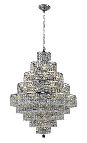 2039 Maxime Collection Chandelier D:30in H:41in Lt:20 Chrome Finish (Elegant Cut Crystals) - llightsdaddy - Elegant Lighting - Pendant Lights