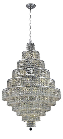 2039 Maxime Collection Chandelier D:32in H:48in Lt:30 Chrome Finish (Elegant Cut Crystals) - llightsdaddy - Elegant Lighting - Chandeliers