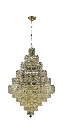 2039 Maxime Collection Chandelier D:32in H:48in Lt:30 Gold Finish (Elegant Cut Crystals) - llightsdaddy - Elegant Lighting - Pendant Lights