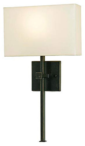 Currey and Company 5905 Ashdown - One Light Wall Sconce, Bronze Gold Finish with Champagne Silk Shade