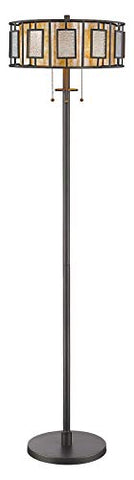 "Z16-54FL Bronze Lankin 3 Light 60"" Tall Floor Lamp with Glass Mosaic Accents - llightsdaddy - Z-Lite - Lamp Shades"