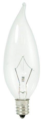 Bulbrite 460360 20PK - 60W - Flame Tip CA10 - E12 Base - 120V - 2600K- 3000Hr - Dimmable - Clear - Krystal Touch Krypton