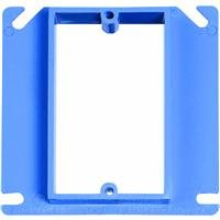 Carlon A411 Outlet Box Cover, Square, Raised, 1 Gang, 4-Inch, Blue