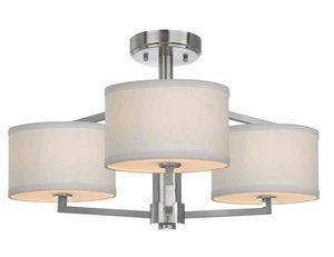 Dolan Designs 1885-09 3Lt semiflush Satin Nickel Monaco 3 Light Semi Flushmount - llightsdaddy - Dolan Designs - Ceiling Lights