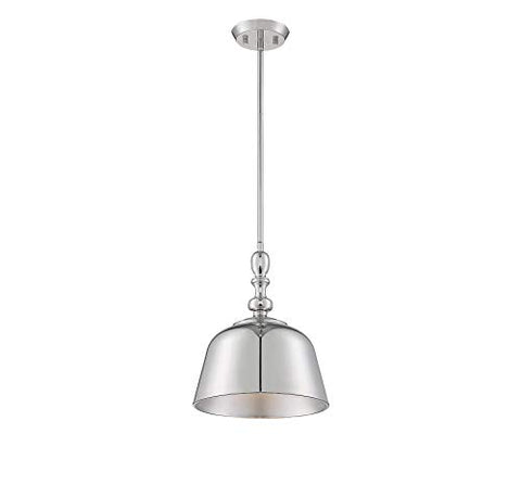 "Savoy House 7-3751-1-109 Berg Polished Nickel 1 Light Pendant (12"" W x 14""H)"