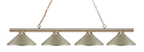 4 Light Island/Billiard, Antique Silver, Steel Shade, Polished Brass Frame