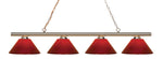 4 Light Island/Billiard, Red, Plastic Shade, Polished Brass Frame - llightsdaddy - Z-Lite - Billiard & Pool Table Lights