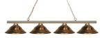 4 Light Island/Billiard, Antique Copper, Steel Shade, Polished Brass Frame - llightsdaddy - Z-Lite - Billiard & Pool Table Lights