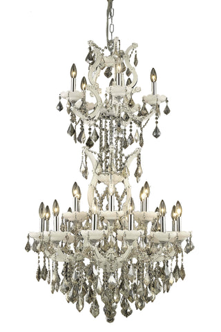 2800 Maria Theresa Collection Chandelier D:30in H:50in Lt:25 White Finish (Royal Cut Crystals)
