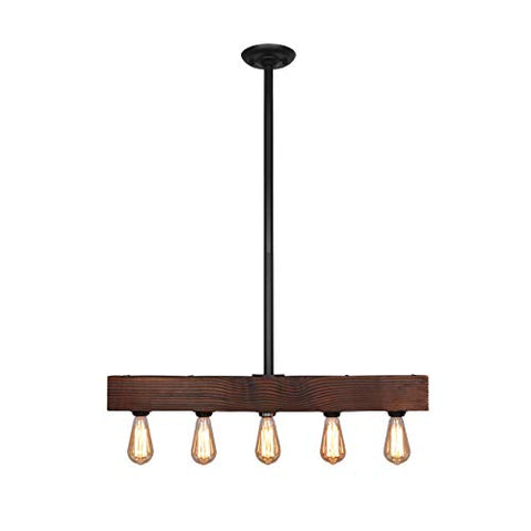 Unitary Brand Vintage Black Metal and Wood Body Kitchen Island Lighting with 5 E26 Bulb Sockets 300W Painted Finish - llightsdaddy - UNITARY - Island Lights