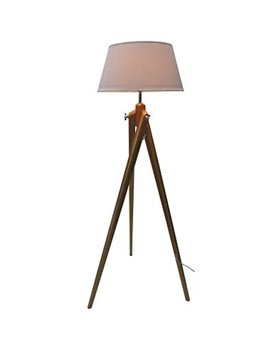"Doris 59.06""H Tripod Bamboo Wood Floor Lamp with White Linon Shade - llightsdaddy - W&P Design - Lamp Shades"