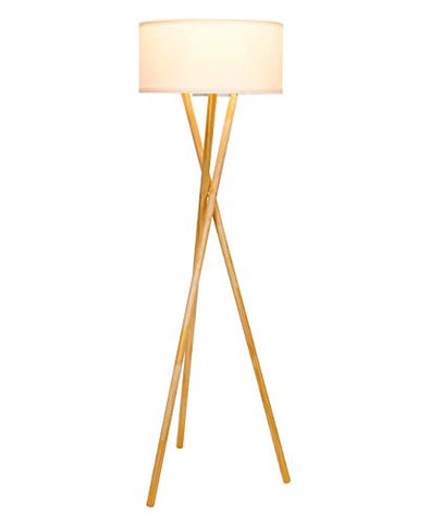 Brightech Harper LED Tripod Floor Lamp Mid Century Modern Wood for Contemporary Living or Family Rooms - Tall Standing Survey Lamp for Bedroom, Office, Kids Room - llightsdaddy - Brightech - Lamp Shades