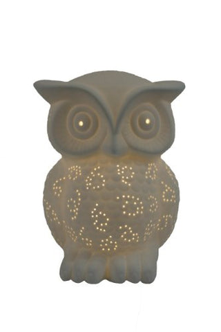 All The Rages LT3027-WHT Simple Designs Porcelain Owl Shaped Table Lamp