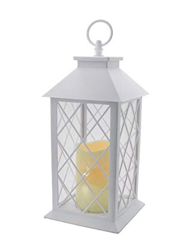 "YAKii 13"" Decorative Candle Lantern with LED Flameless Candle and Timer, Plastic LED Candle & Holder, Indoor & Outdoor Hanging Lights(White) - llightsdaddy - YAKii - Flameless Candles"