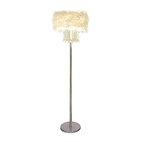 Hsyile Lighting KU300180 Modern and Simple Crystal Feather Floor Lamp Home Lighting for Living Room Bedroom, Lampshade White,3 Lights - llightsdaddy - Hsyile - Lamp Shades