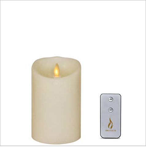"Brucech luminary flameless flickering candles, LED flameless Candle with Remote & Timer,3.5 ""x 5"" Ivory,Vanilla scented - llightsdaddy - Brucech - Flameless Candles"
