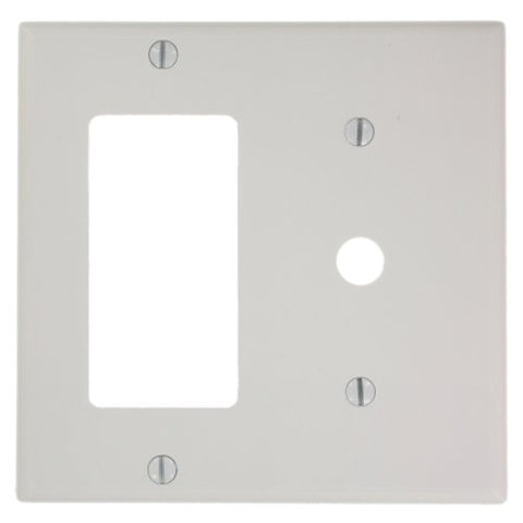Leviton 80479-W 2-Gang 1-Decora 1-Telephone/Cable .406 Device Combination Wallplate, Thermoset, Strap Mount, White - llightsdaddy - Leviton - Wall Plates