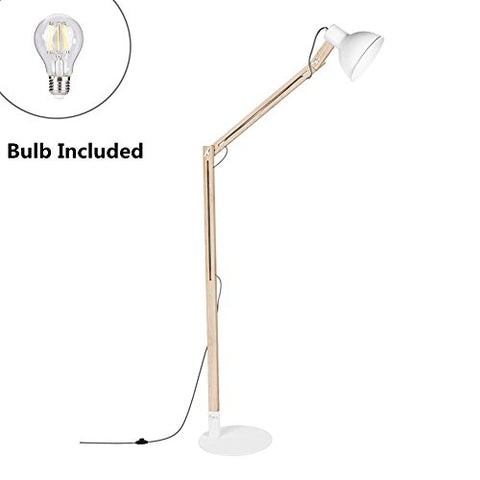 "Viugreum LED Wood Floor Lamp,Solid Ash Wood,Adjustable Arm Reading Light 57.8"" Height, E26 8W Warm White Led Bulb Inside (60W Max),Suitable for Living Room Reading Room Study Room Office - White - llightsdaddy - Viugreum - Lamp Shades"