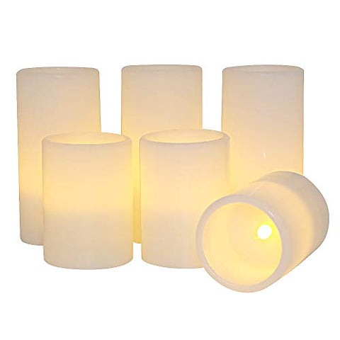 "Eldnacele Flameless Flickering Candles Battery Operated Real Wax White Color with 8 Hours Timer for Christmas Home Decoration and Parties Set of 6(3""x4, 3""x6"") - llightsdaddy - Eldnacele - Flameless Candles"