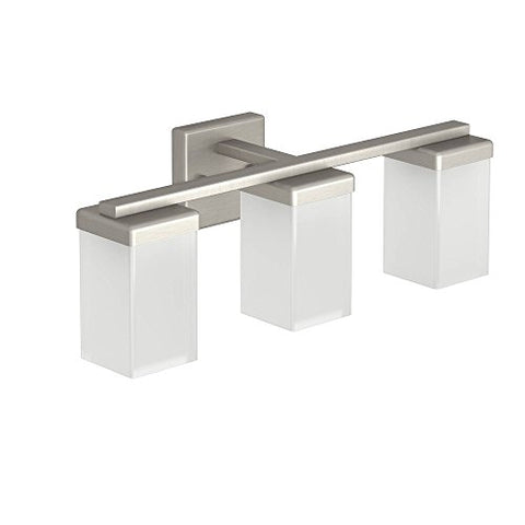 Moen YB8863BN 90 Degree 3-Light Dual-Mount Bath Bathroom Vanity Fixture with Frosted Glass, Brushed Nickel