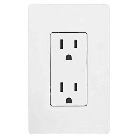 Lutron CAR-15H-WH Claro Accessories 15A Receptacle White White - llightsdaddy - Lutron - Lamp Post Mounts