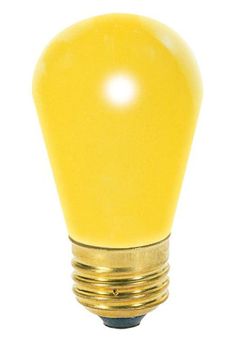 Satco S3960 11 Watt S14 Incandescent 130 Volt Medium Base Light Bulb Ceramic Yellow, 4 Pack