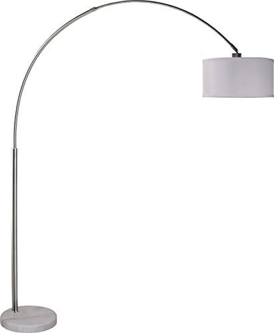 "SH Lighting 6938WH 81"" H Brush Steel Adjustable Arching Floor Lamp with Marble Base, White, Piece  SH Lighting Lamp Shades llightsdaddy.myshopify.com lightsdaddy"