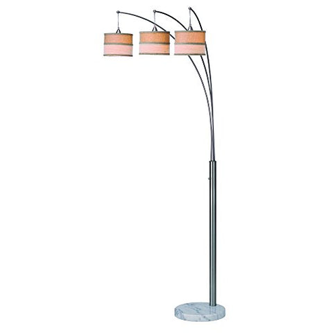 Artiva USA Luca, Modern 86-inch 3-arch Brushed Steel Floor Lamp with Marble Base and Dimmer Switch - llightsdaddy - Artiva USA - Lamp Shades