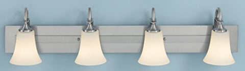 "Feiss VS12704-BS Barrington Glass Wall Vanity Bath Lighting, Satin Nickel, 4-Light (37""W x 9""H) 400watts - llightsdaddy - Feiss - Vanity Lights"