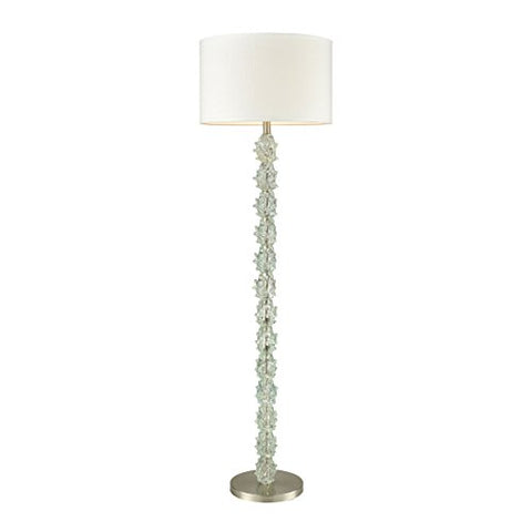 Dimond Lighting D3271 Helsinki - One Light Floor Lamp, Ocean Mint/Satin Nickel Finish with White Faux Silk Shade - llightsdaddy - Dimond Lighting - Lamps