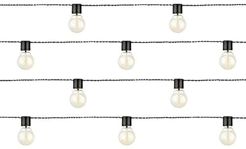 Moonrays 91129 Solar Powered Globe String Lights, 10 Lights per 15.42 Feet of Cord, White LEDs