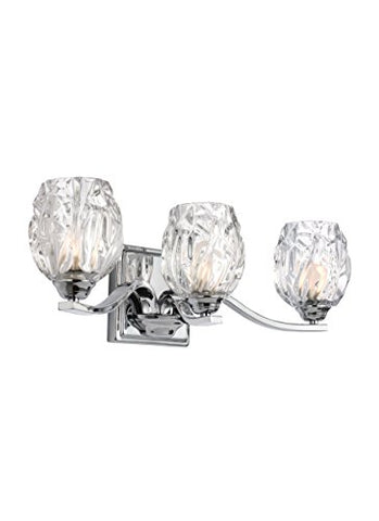 "Feiss VS22703CH Kalli Crystal Vanity Lights for Bathroom, Chrome 3-Light (20"" W x 6"" H) 120 Watts"