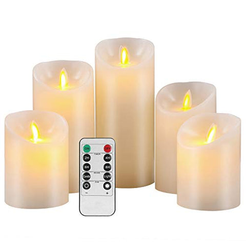 "Pandaing Flameless Candles Set of 5 (D 3"" x H 4"" 4"" 5"" 6"" 7"") Battery Operated LED Pillar Real Wax Moving Flame Flickering Electric Candle Gift Set with Remote Control Cycling 24 Hours Timer - llightsdaddy - Pandaing - Flameless Candles"