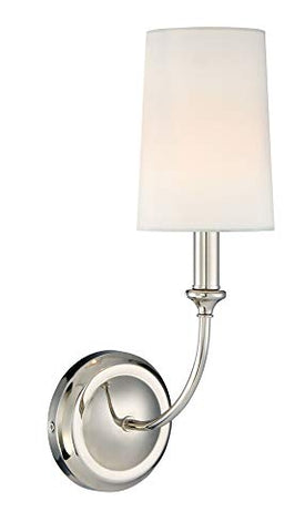 Crystorama 2241-PN Transitional One Light Wall Sconce from Sylvan collection in Chrome, Pol. Nckl.finish,