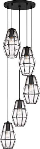 Quoizel BLH2705EK Blythe Industrial Pendant Ceiling Light, 5-Light 500 Watts, Earth Black