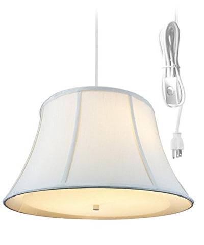 2 Light Plug-in Pendant Light by Home Concept - Hanging Swag Lamp Egg Shell with Diffuser - Perfect for Apartments, dorms, no Wiring Needed (Egg Shell, White Two-Light)